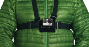 Close up photo of the new GoPro Wellness Logo on Chest Harness Chesty