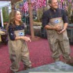 Chefs Giada and Curtis Stone wearing Ocean Spray Waders with Flex 2d patches on logo